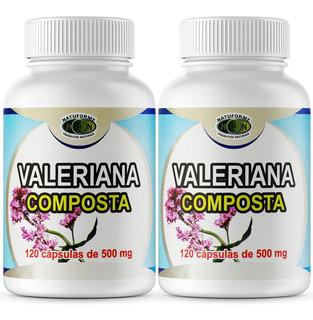 2 Potes De Valeriana Composta 120 Cápsulas De 500mg