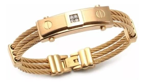 Pulseria Masculina Bracelete Aço Inox 18k Ouro