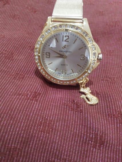 Relógio Feminino Dourado Com Pedras