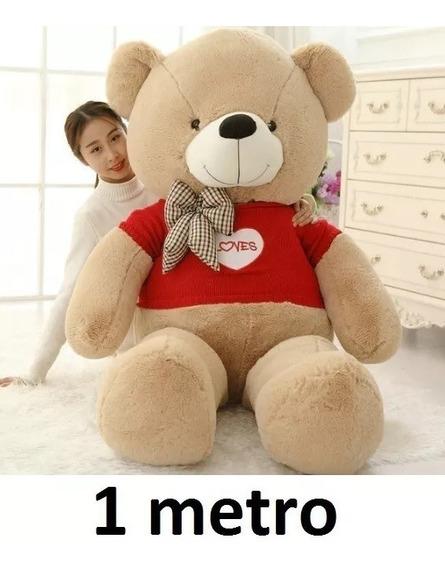 Urso De Pelucia Grande Marrom Cacau Teddy Com Roupinha Top