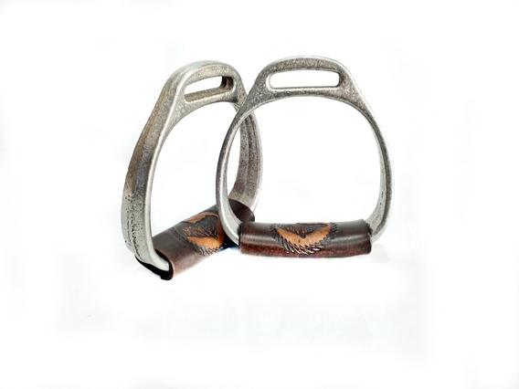 Par Estribos Alumínio Para Montaria Cavalo Laço Comprido