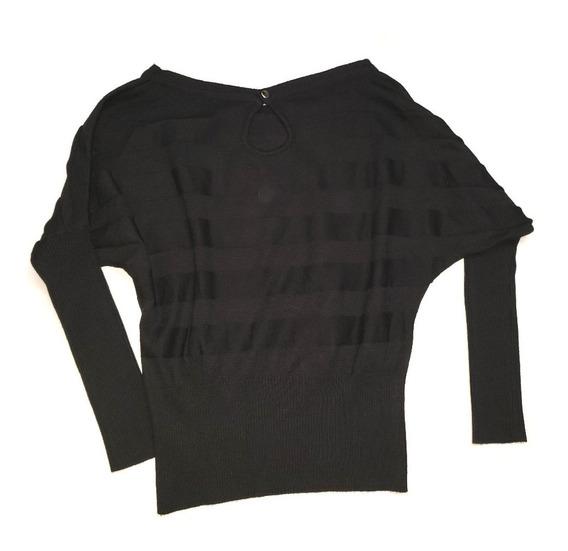 Sweater Negro Corto Cuello Redondo Talle M