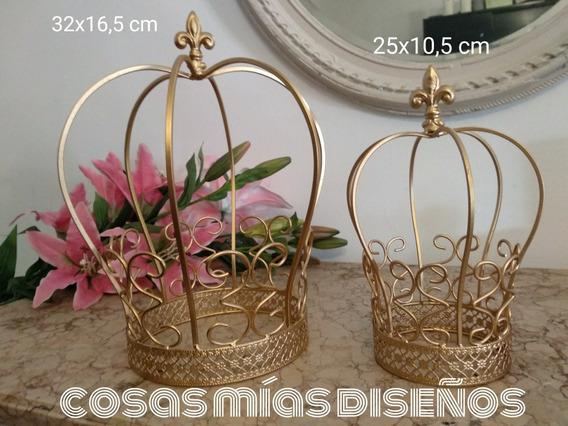 Centro De Mesa 15 Años/ Coronas/coronas Princesa Doradas X 2