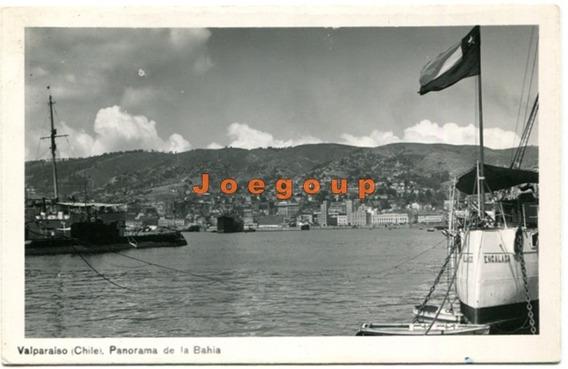 Postal Barcos Panorama De La Bahia Valparaiso Chile 1949