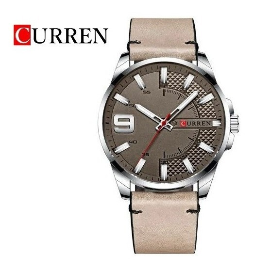 Reloj Curren Analógico Original Correa De Piel 3 Atm 8371