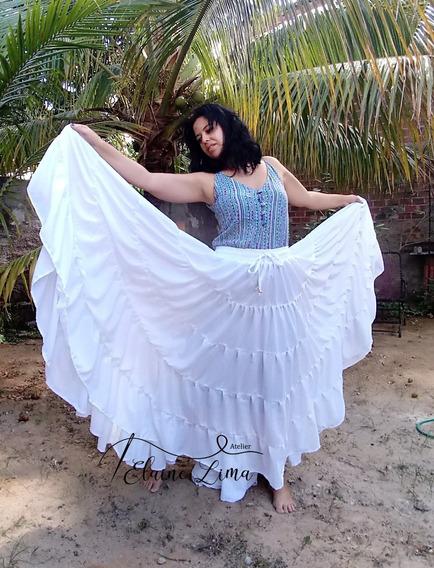 Saia Dança Cigana Ats Tribal 20m De Roda Varias Cores
