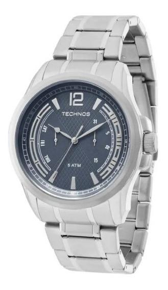 Relógio Technos 6p25ba/1c Masculino, Prata, Azul, Aço