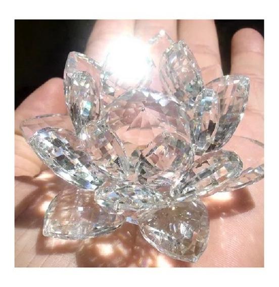 Enfeite Decoração - Flor De Lotus Em Vidro Cristal - Budismo