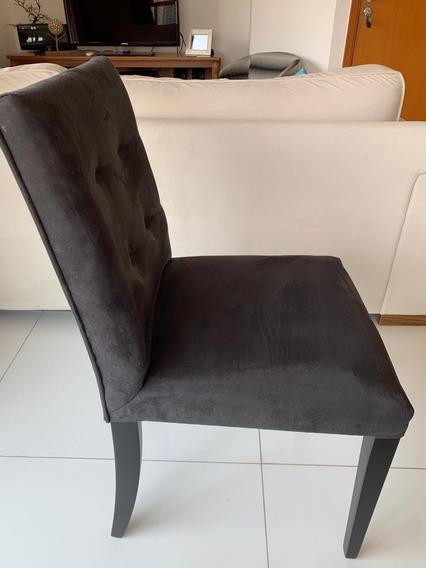 Cadeiras Sala Jantar (conj. 4pçs) Madeira Estofadas Camurça