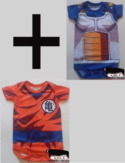 Kit Uniforme Goku E Uniforme Vegeta Body Bebê