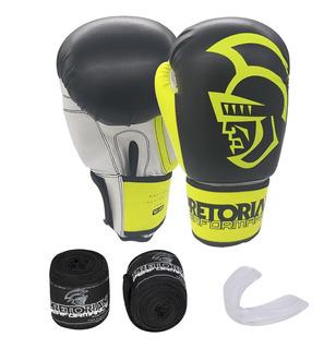 Kit Boxe Muay Thai Start Pretorian Luva Bandagem Acessórios