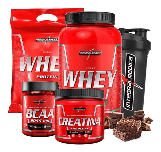 Kit 2x Whey 900g + Bcaa + Creatina + Shaker - Integralmédica