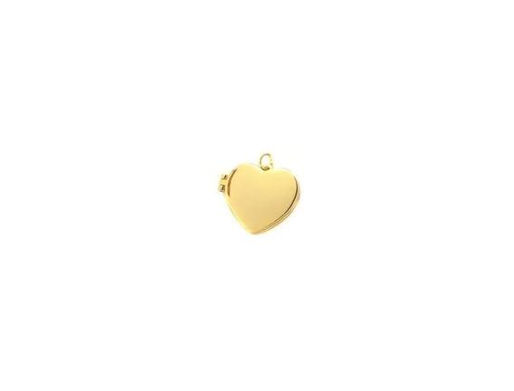 Pingente Coração Relicário Banhado A Ouro 18k + Veludo
