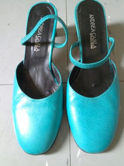 Zapatos De Cuero Color Turquesa