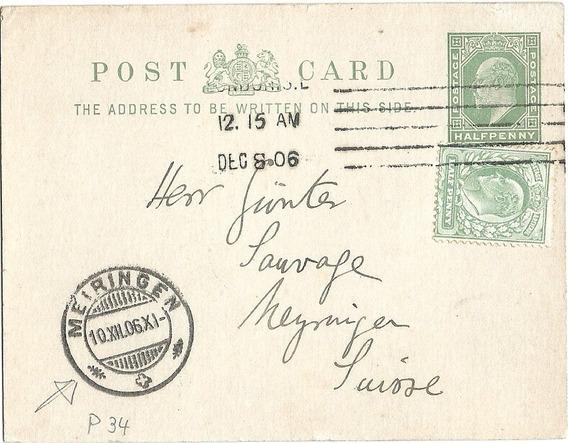 Gran Bretaña Tarjeta Postal Circulada A Alemania 1906