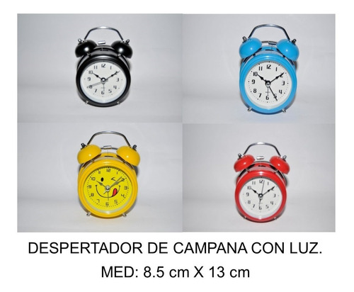Imagen 1 de 6 de Despertador Antiguio De Campana Con Luz Med: 8.5cm X 13cm
