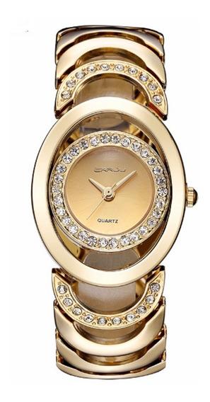 Relógio Feminino Crrju Quartz Prata Ou Dourado