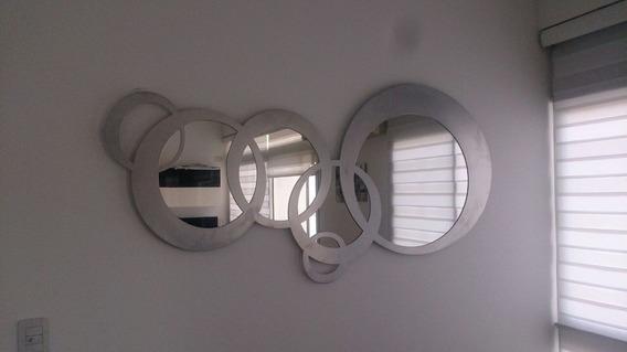 Espejo De Diseño En Metal 1,6x80cm C/4 Espejos
