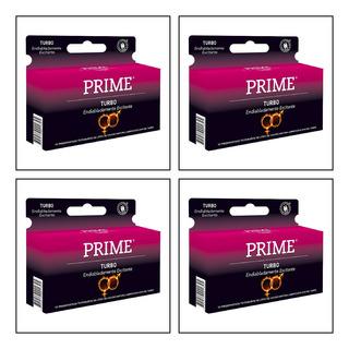 Preservativos Prime Turbo 4 Cajas De 12, 48 Unidades.