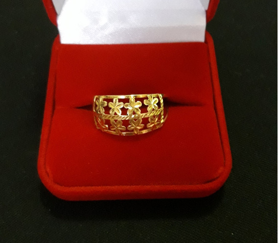 Anel Vazado Florzinhas Ouro 18k