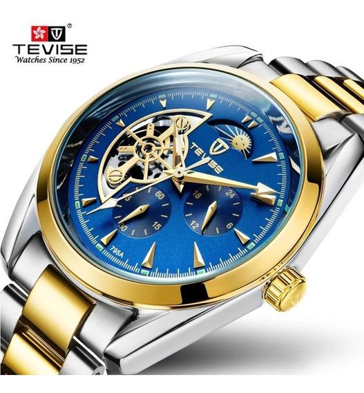 Relógio Tevise Automático Mecânico Inox Original F. Azul 214