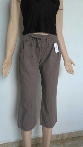 Pantalón Capri Lino Mujer Bolsillos Elástico Vison