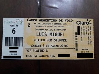 Entrada Luis Miguel 2019/vip Platino