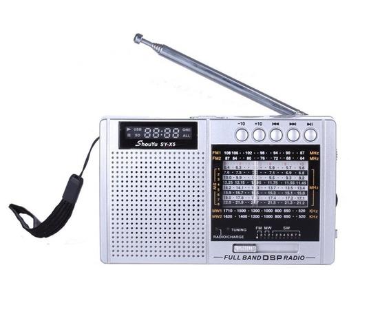 Rádio Shouyu Sy-x5 Am Fm Sw C/ Mp3 E Dsp Cor Prata Cartão Tf