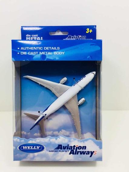 Miniatura Avião Comercial Boeing 787 Metal Welly