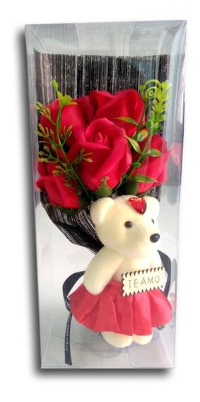 Arreglo Ramo Flores Rosas D Jabon Osita Regalo Valentin Rojo