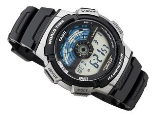 Reloj Casio Hombre,deportivo,bisel Gris,cronómetro, Wr100m.