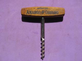 Antiguo Sacacorcho Publicidad De Aperitivo Amargo Obrero