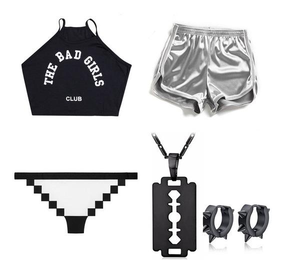 Top Bad Girls Club + Tanga Pixel + Short Brilhante + Biju