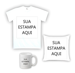 Kit Camiseta, Almofada E Caneca Personalizada