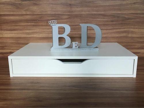 Criado Mudo Escrivaninha Suspensa 60x15x30cm Mdf Branco