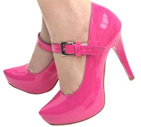 Scarpin Pink Rosa Verniz Boneca Meia Pata Salto Alto Fino
