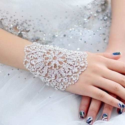 Pulseira Bracelete Strass Prata Noiva Debutante