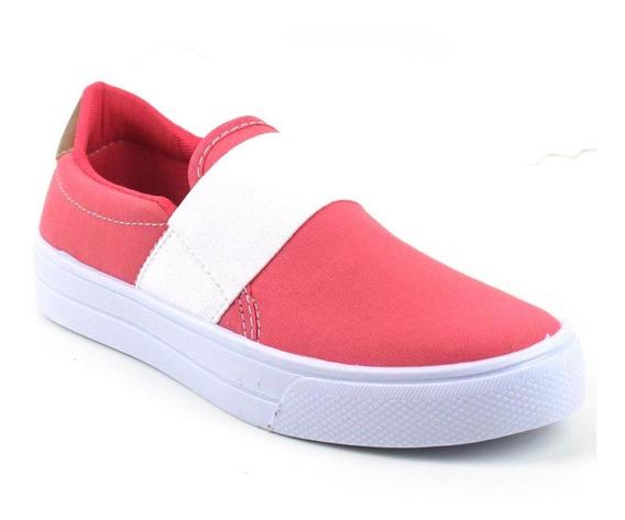 Tênis Slip On Tag Shoes Lona Elástico Macio Conforto