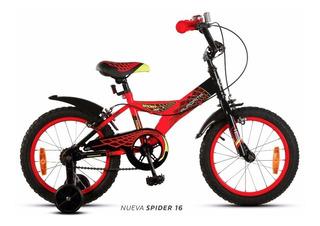 Bicicleta Aurora Spider Rodado 16 Nene Rueditas En Slice Deportes