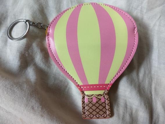 Bolsa Porta Moedas E Chaveiro - Balão Rosa E Amarelo