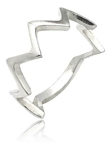 Anel Prata 925 Lei Zigzag Alianca Inspired Stacking Rings