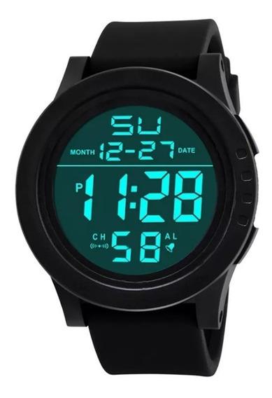 Relógio Digital Masculino Redondo Grande Aprova D