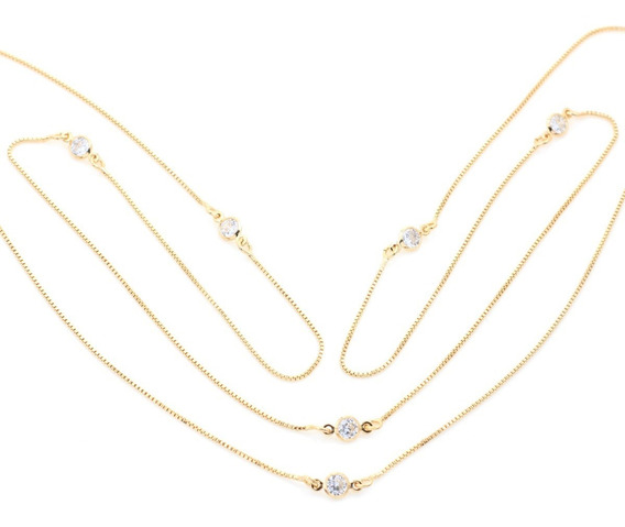Colar Zirconeas Tipo Tifany Folheado Ouro 80cm 4419