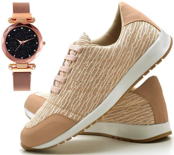 Kit Tênis Jogger Feminino + Relógio Pulseira Magnética