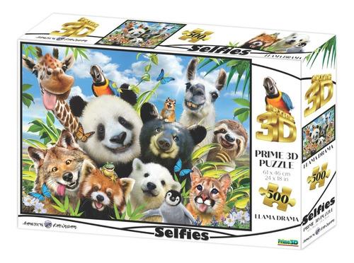 Imagen 1 de 5 de Puzzle Rompecabeza 500 Pzs Prime3d Selfies De Animales 10377