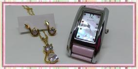 Relógio Touch K190508 Webclock De Pulso Feminino Kit Rosê