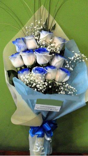 Ramo De 12 Rosas Azules Envio Gratis Floreria Fotos Reales