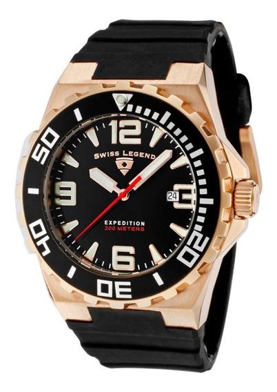 Relógio Suíço Sl10008 Rg 01 Bb Rose Silicone - Swiss Legend