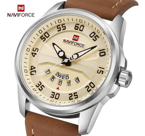 Relógio Pulso Masculino Naviforce Original Couro Barato