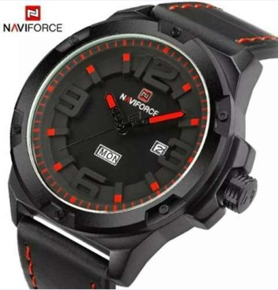 Relógio Masculino Naviforce Pulseira De Couro C/ Caixa